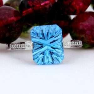 10x8mm Rectangle Blue Topaz Diamond Ladies Ring