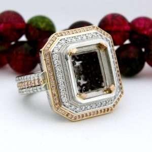 Large Platinum 18 Karat Gold Rectangle Diamond Semi Mount Ring